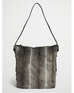 Faux Fur Tote With Handles Black Spring Deer