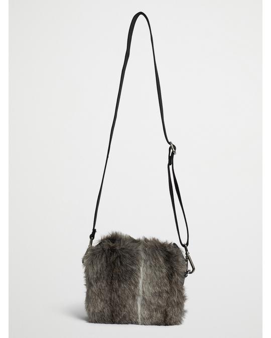 Ceannis Faux Fur Crossbody Bag Black Spring Deer