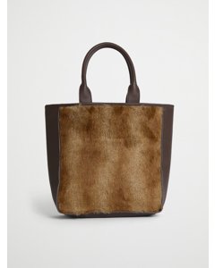 Faux Fur Large Tote Bag Brown Spring Deer