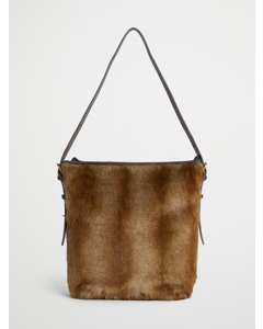 Faux Fur Tote With Handles Brown Spring Deer