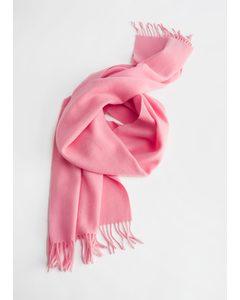Fringe Trim Wool Scarf Pink