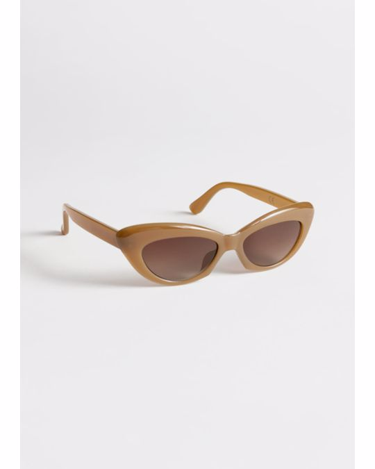 & Other Stories Rounded Cat Eye Sunglasses Beige