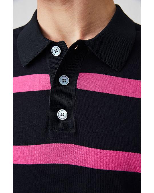 Arket Cotton Silk Polo Shirt Blue