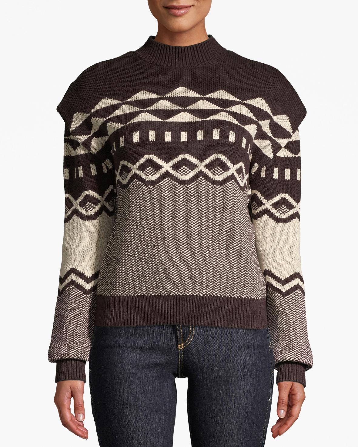 Nell grafiskt mönstrad stickad tröja brun