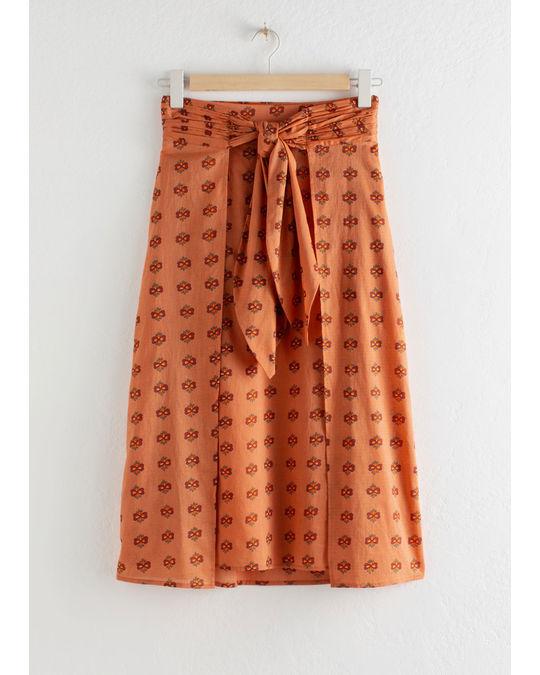 & Other Stories Knot Tie Midi Skirt Orange Floral