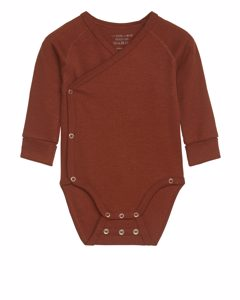 Cotton Lyocell Wrap Bodysuit Reddish Brown