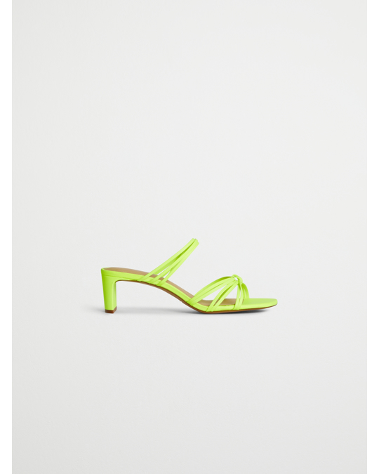 & Other Stories Strappy Knotted Heeled Leather Sandals Neon Green