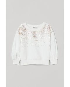 Sweatshirt Med Paljetter Naturvit/stjärnor