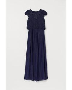 Geplisseerde Maxi-jurk Donkerblauw