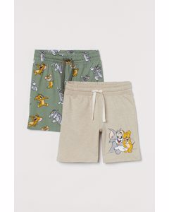 Set Van 2 Tricot Shorts Kakigroen/tom En Jerry