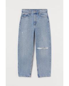 Relaxed Tapered High Jeans Ljus Denimblå
