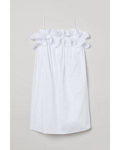 Kleid mit Volants Weiß