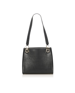 Ferragamo Gancini Leather Shoulder Bag Black