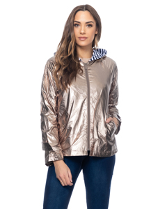 Metallic Jacket With Hood And Striped Lining