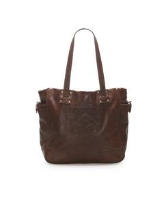Loewe Anagram Leather Tote Bag Brown