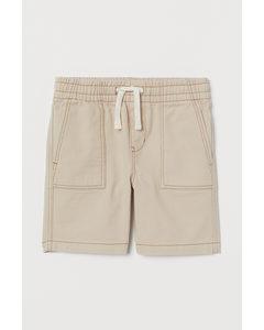 Shorts I Bomull Ljusbeige