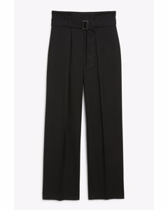 High Waist Tailored Trousers Black