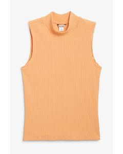 Sleeveless Turtleneck Top Light Orange