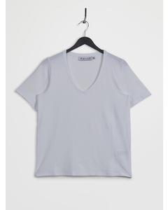 Deep V-neck Short Sleeve T-shirt White