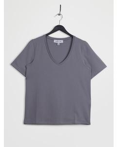 Deep V-neck Short Sleeve T-shirt Grey