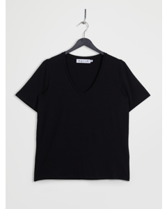 Deep V-neck Short Sleeve T-shirt Black