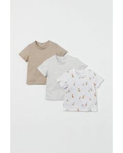 3er-Pack T-Shirts Beige/Giraffen