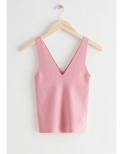 Rib Knit Tank Top Light Pink