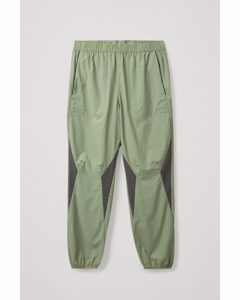 Panelled Performance Joggers Green / Brown