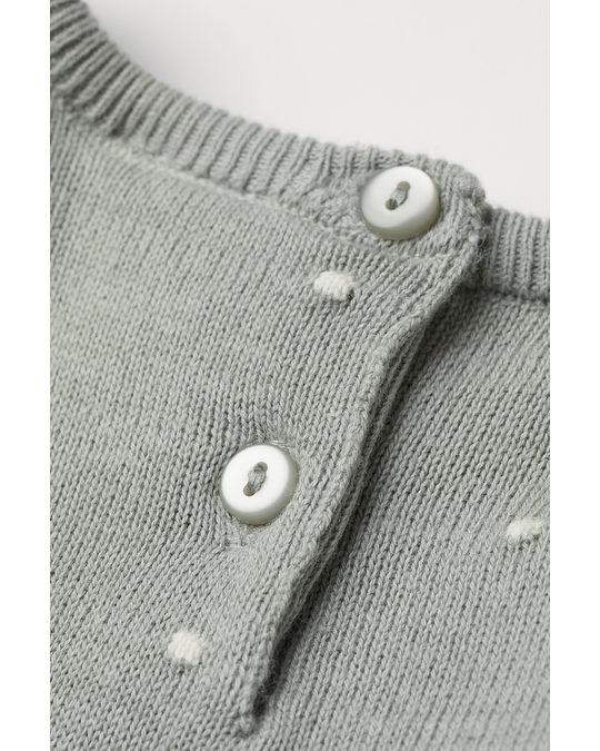 H&M Kleid in Strukturstrick Mattgrün