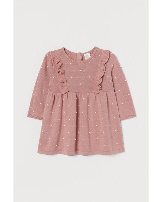 H&M Kleid in Strukturstrick Altrosa