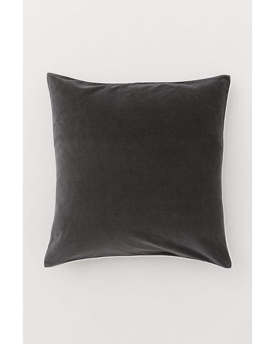 H&M HOME Cotton Velvet Cushion Cover Dark Grey/light Beige