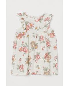 Jerseykleid mit Volants Weiß/Geblümt