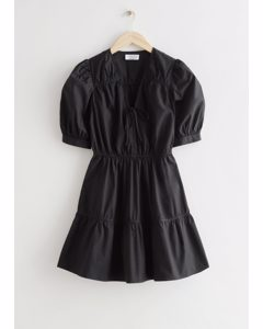 Tiered Puff Sleeve Mini Dress Black