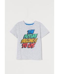 T-Shirt mit Druck Hellgraumeliert/The Future