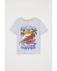 T-Shirt mit Druck Hellgrau/Surfender Dinosaurier