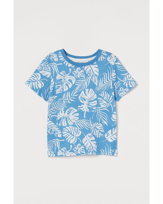 H&M Printed T-shirt Blue/leaf Print