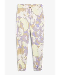 Cotton Sweatpants Marble Print