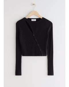 Fitted Asymmetric Button Up Knit Cardigan Black