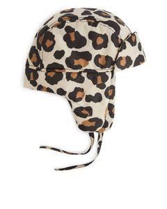 Pile Lined Cap Beige/leopard