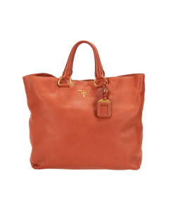 Prada Vitello Daino Tote Bag Orange