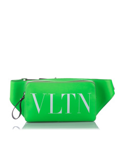 Valentino Vltn Leather Belt Bag Green