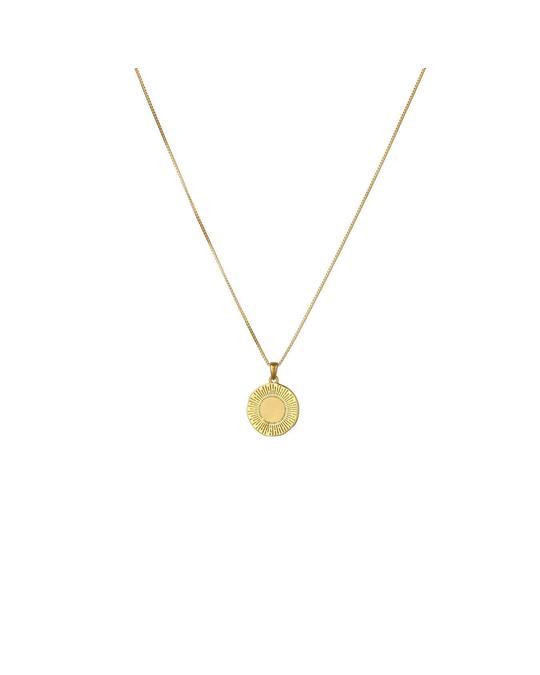 Syster P Sunburst Round Pendant Necklace Gold