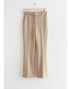 Belted Stretch Kick Flare Trousers Beige