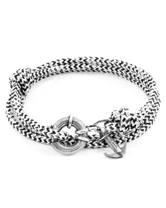 Anchor & Crew White Noir Clyde Anchor Silver And Rope Bracelet