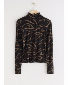 Long Sleeve Turtleneck Top Black Print