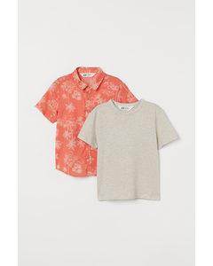 2-teiliges Baumwollset Koralle/Palmen