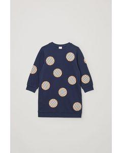 Patch-detail Sweatshirt Dress Navy / Multi