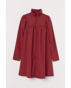 Frill-collared Dress Red/black Checked