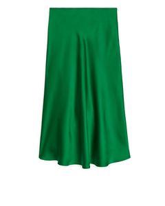 Satin Skirt Green