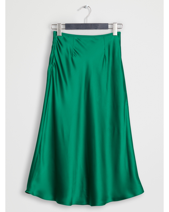 Arket Bias-Cut Satin Skirt Green
